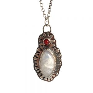 moonstone sterling silver and glass pendant