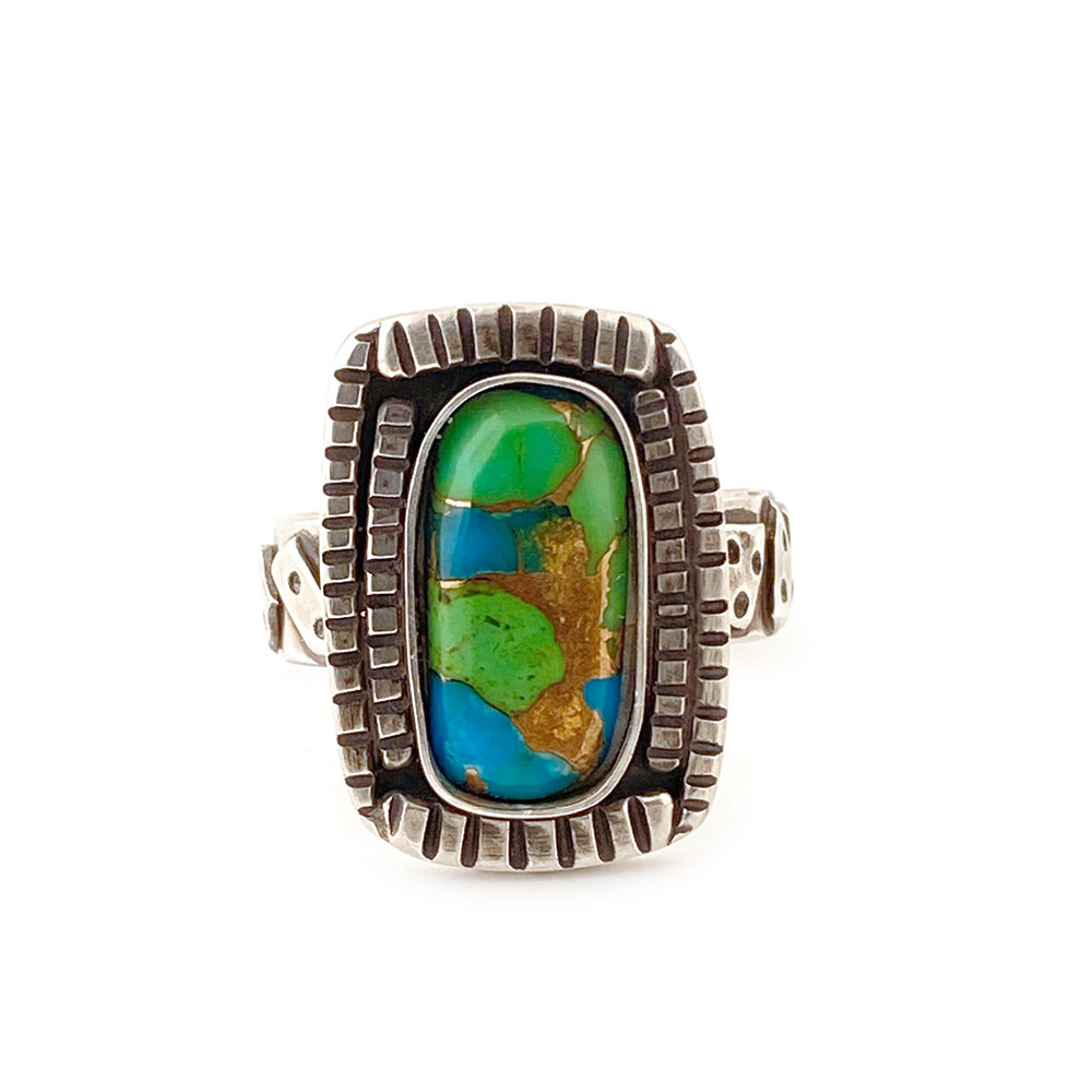 17_turquoise_silver_tiered_aztec_motif_ring