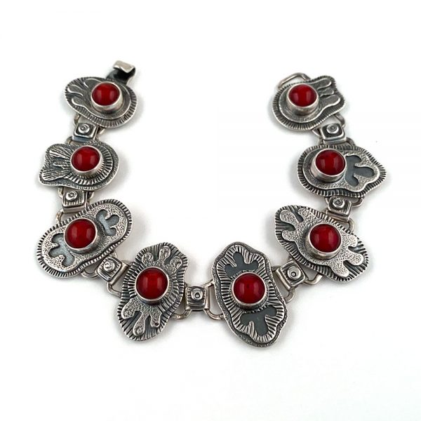 sterling silver bracelet with red fused glass cabochons