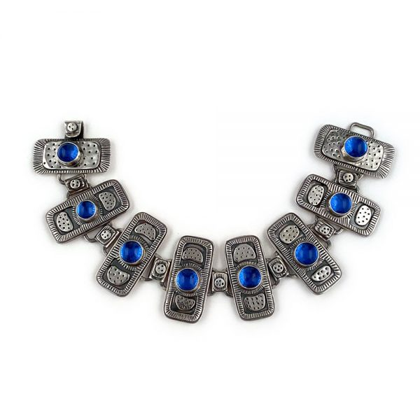 one of a kind artist made sterling silver and blue glass bracelet