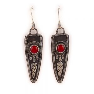 red glass stones in handmade sterling silver earring settings