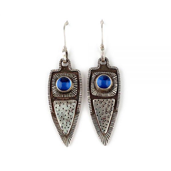 handmade silver and blue dangle earrings