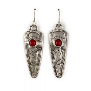 sterling silver handmade dangle earrings with red glass stones
