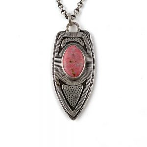 intricately handstamped silver pendant necklace with pink thulite stone