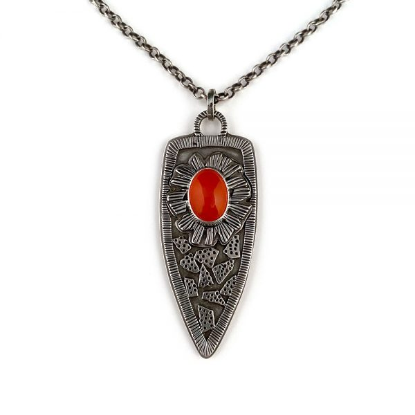 handmade carnelian and silver necklace