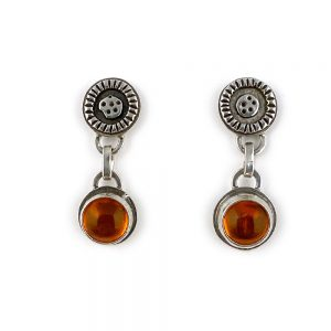 fun silver and orange earrings