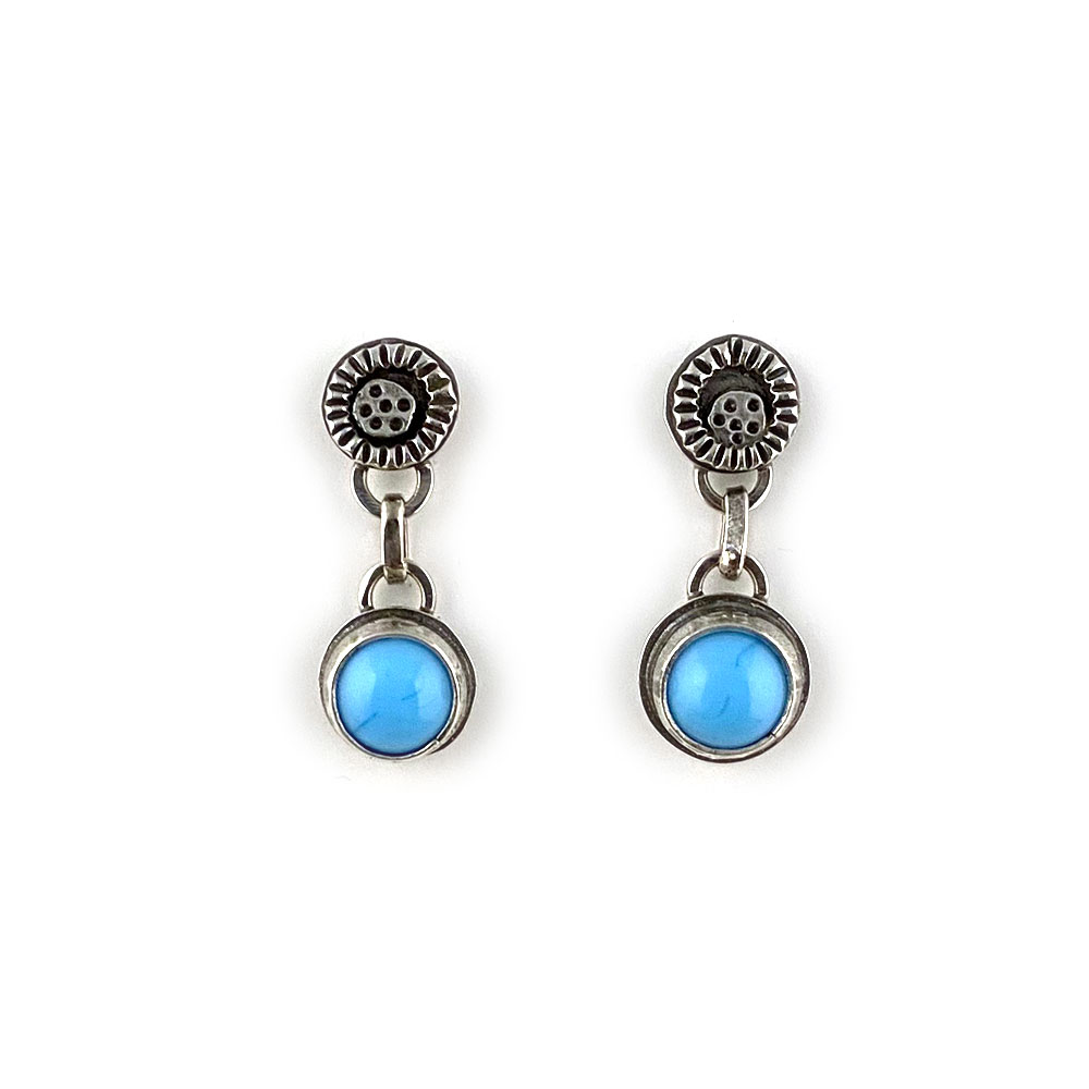 turquoise blue glass earrings in silver