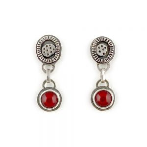 handmade silver drop earrings with red glass stones