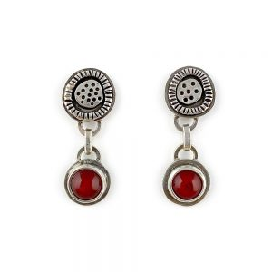 red glass dangle earrings