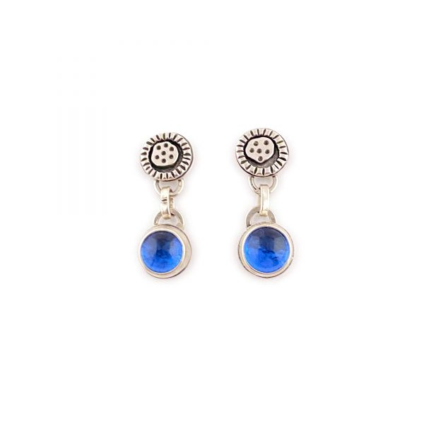 blue glass and silver earrings