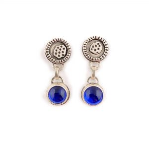 blue and silver dangle earrings