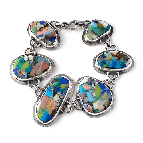 glass mosaic silver art jewelry bracelet